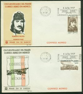 MEXICO C325-C326, 50tth ANNIVERSARY OF THE 1st AIR MAIL. 2FDCs VF. (96)