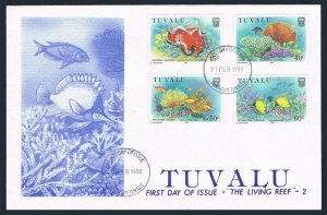 Tuvalu 465-468,FDC. Michel 485-488. Spanish dancer,Hard coral,Stars,Fish.1988.