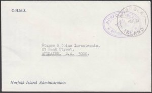 NORFOLK IS 1973 Official cover to Australia.................................M633