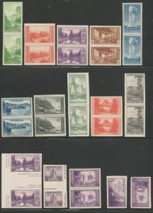 Scott #727//765 MNH Farley Issues Line pairs, gutter pairs and singles NGAI