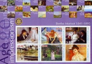UZBEKISTAN 2002 Berthe Morisot Paintings Sheet Perforated mnh.vf