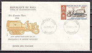 Mali, Scott cat. C332 only. Citreon Auto. First day cover. ^