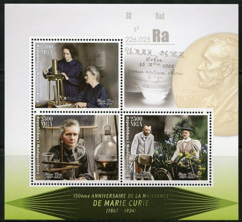MADAGASCAR 2017 150th BIRTH OF MARIE CURIE  SHEET MINT NH