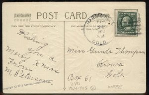 USA 1914 HARGISVILLE Elbert Colorado DPO Cover Postcard Embossed Christmas 94232