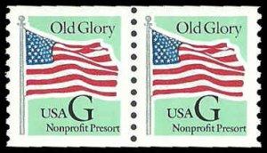 PCBstamps   US #2893 Coil Pair 10c(2x(5c))Flag, green back G, MNH, (2)