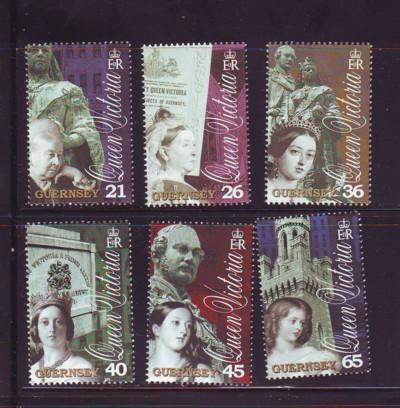 Guernsey Sc 726-31 2001 Victoria's Death stamp set mint NH