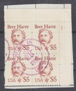 USA 1987 $5 Bret Harte plate block No 1 used on piece......................27590