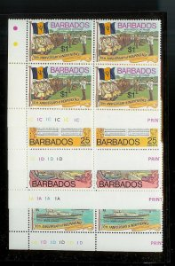 BARBADOS Sc#448-451 Complete Mint Never Hinged PLATE BLOCK Set