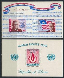 Liberia #C169a,C179* NH  CV $4.75 Pres. Tubman, Human rights Souvenir sheets