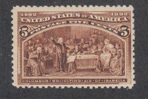 US Sc 234 MLH. 1893 5c chocolate Columbian, fresh, F-VF