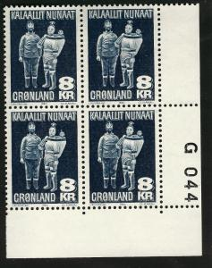 Greenland 8 Krone (Scott #104)  Plate Block #G044  F-VF MNH Hard to Find!