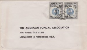Aden 1/25 QEII Colony Badge (2) 1963 Aden G.P.O. to Milwaukee, Wis. Light sta...
