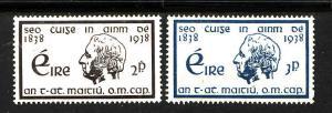Ireland-Sc#101-2-unused  hinged set-Temperance Crusade-1938-