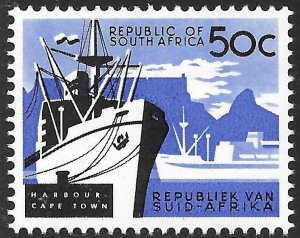South Africa 50c Cape Town Harbor, Ship issue of 1962, Scott 277 MNH