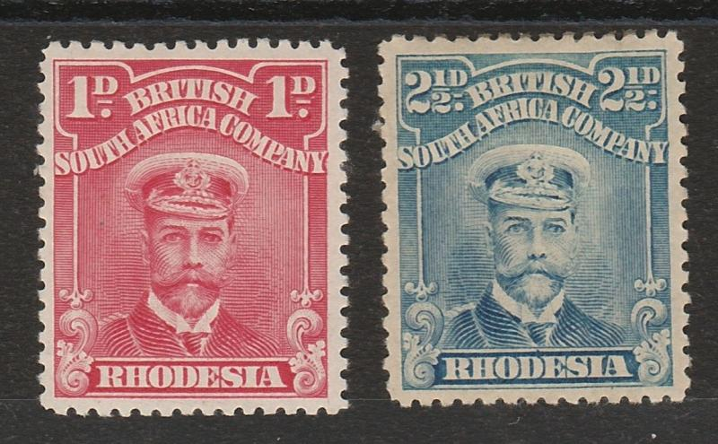 RHODESIA 1913 KGV ADMIRAL 1D AND 21/2D PERF 14