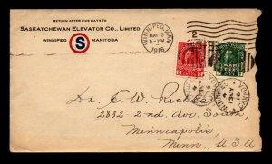 1916 Saskatchewan Elevator Co Advert Cover Used - L12132