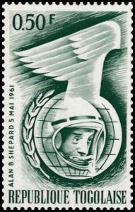 Togo Space Exploration Alan B Shepard 0.50F single (1 stamp) MNH 1961