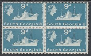 SOUTH GEORGIA 1963 QEII SHIP 9D MNH ** BLOCK