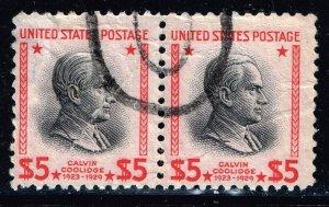 US STAMP #835 $5 1938 Presidential Series Used PAIR stamps crease