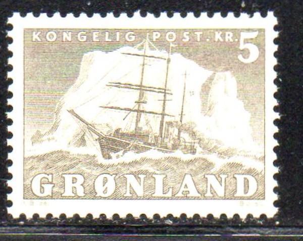Greenland Sc 38 1958 5 kr ship stamp mint NH