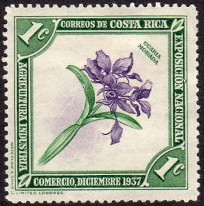 Costa Rica 184 - Mint-H - 1c Purple Guaria Orchid (1938) (cv $0.60) (2)