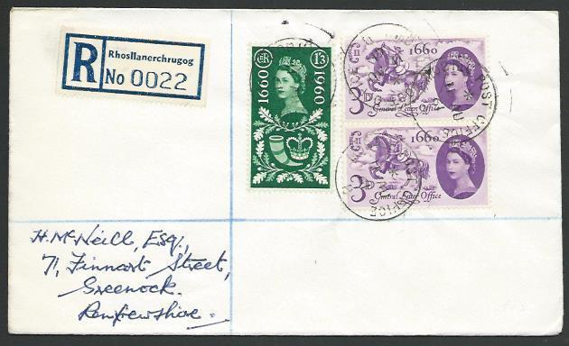 GB WALES 1961 Reg cover ex National Eisteddfod :Mobile Post Office B cds...88740