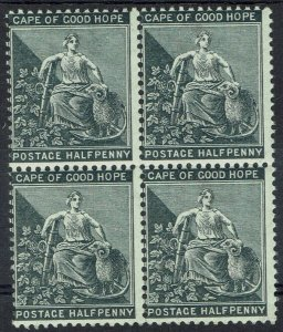 CAPE OF GOOD HOPE 1884 HOPE SEATED 1/2D MNH ** BLOCK WMK ANCHOR