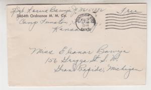 3464th. Ordnance M.M. Co., Camp Funston, Kansas, 1944 Free Mail cover to MI.