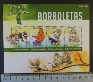 St Thomas 2015 butterflies insects flowers m/sheet mnh