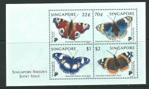 SINGAPORE SGMS1003 1999 SINGAPORE-SWEDEN JOINT ISSUE  BUTTERFLIES MNH
