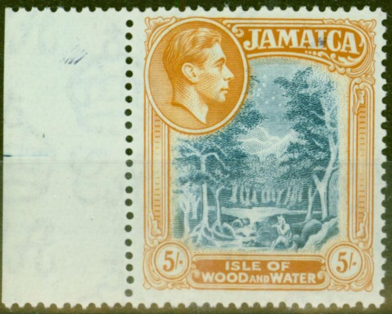 Jamaica 1938 5s Slate-Blue & Yellow-Orange SG132 V.F Very Lightly Mtd Mint