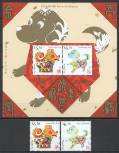 NW0158 2018 NIUAFO'OU PETS DOGS YEAR OF THE DOG MICHEL 34 EURO 1KB+1SET MNH