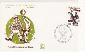 Monaco 1979 International Circus Festival Clown Cancel FDC Stamp Cover Ref 26426