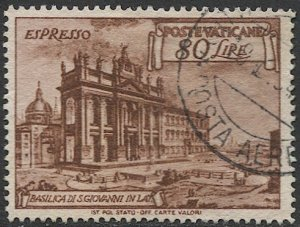 VATICAN CITY Italy 1949  Sc E12  Used  VF  60L Special Delivery