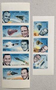 Qatar 1966 Astronaut IMPERF strips, MNH. Scott 104-104A. Mi 142-149, CV €40.00