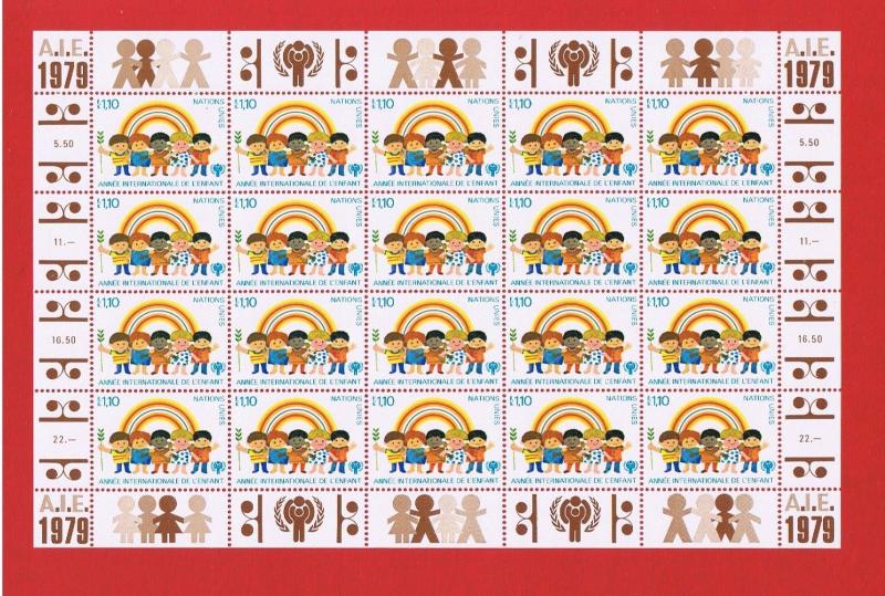 UN Geneva #85 MNH OG pane of 20  Year of the Child  Free S/H