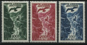 Andorra Airmails 100 to 500 francs mint lightly hinged