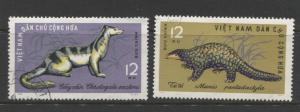 Dem.Rep.Viet Nam - Scott 351 & 352-Animals -1965 -FU- Single 2 X 12xu Stamps