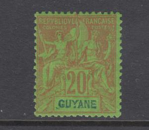 French Guiana Sc 41 MLH. 1892 20c red on green Navigation & Commerce, fresh