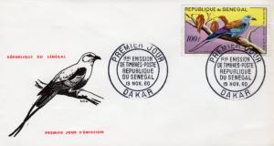 Senegal 1960 Sc#C27 - Birds Abyssinian Roller (1) Official F.D.C.