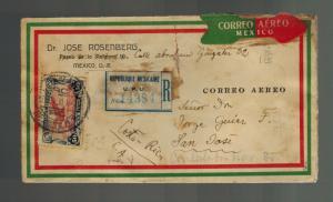 1933 Mexico Register Sunburst Airmail cover to Costa Rica Judaica Jose Rosenberg