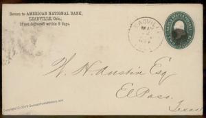USA 1888 LEADVILLE Colorado Cover El Paso Texas 90073