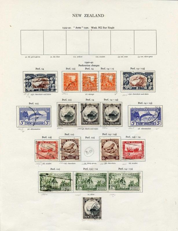 New Zealand 1940/2 KGVI perf changes inc SG580d 583b etc Fine Used