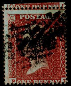SG17, 1d red-brown, SC16 DIE I, USED. Cat £35.