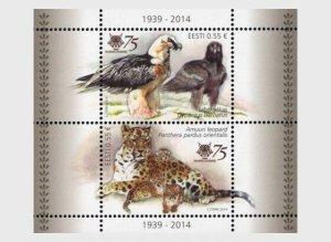 2014  ESTONIA  -  TALLIN ZOO  -  LEOPARD / VULTURE -   UNMOUNTED MINT CATS/BIRDS