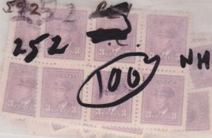 Canada USC #252 x 100 Mint F-VF-NH 1943 3c Rose Violet inc. Blocks