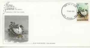 1978 Grenada WWF Blue-Faced Booby (Scott 853) FDC
