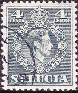 ST LUCIA 1949 KGVI 4c Grey SG149 FU.