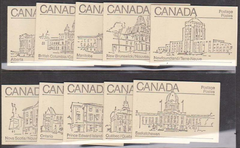 Canada - #BK82Ab - 1982 Complete Booklets Eight Diff.Cvrs Msg. Nfld & Nov.Scotia