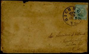 CSA #6 FINE USED TIED BY RICHMOND, VA JUN.30,1862 CDS LAST DAY OF 5¢ RATE BQ3742